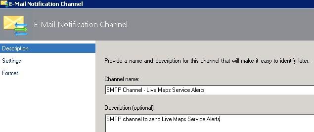 SCOM email notification channel screenshot